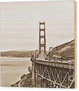 Golden Gate Bridge In Sepia Wood Print