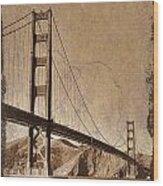 Golden Gate Bridge Sepia Wood Print