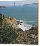Golden Gate Bridge Viewed From The Marin Headlands Wood Print by Wingsdomain Art and Photography