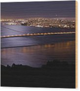 Golden Gate Bridge With Moonlit Reflections Wood Print