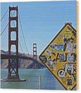 Golden Gate Stickers Wood Print