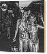 Golden Girls Of Bourbon Street - Black And White Wood Print