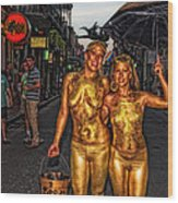 Golden Girls Of Bourbon Street  Wood Print