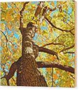 Golden Green Wood Print