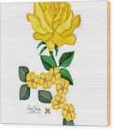 Golden January Rose Wood Print by Anne Norskog