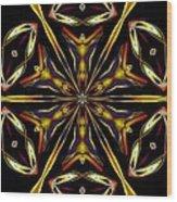 Golden Kaleidoscope Wood Print