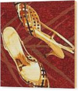 Golden Lattice Slingbacks On Royal Red Carpet Wood Print