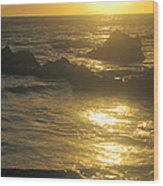 Golden Maui Sunset Wood Print