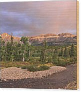 Golden Montana Mountain Wood Print