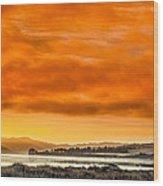 Golden Morning Over Humboldt Bay Wood Print