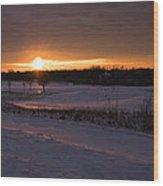 Golden Orange Winter Sunset Over The Golf Wood Print