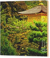 Golden Pavilion Temple In Kyoto Glowing In The Garden Wood Print