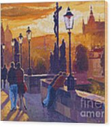 Golden Prague Charles Bridge Sunset Wood Print
