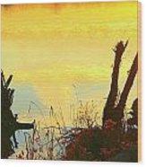 Golden Silhouette Wood Print