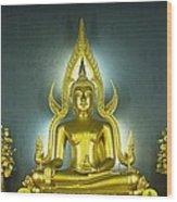 Golden Sitting Buddha Wood Print