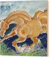 Golden Stride Wood Print