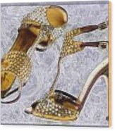 Golden Studded Stilettos Wood Print