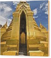 Golden Stupa Front View Bangkok Wood Print