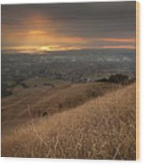 Golden Sunset Over San Francisco Bay Wood Print by Sean Duan