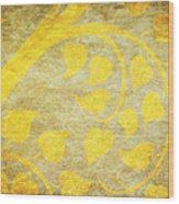 Golden Tree Pattern On Paper Wood Print