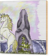 Golden Unicorn By The Sea Wood Print
