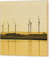 Golden Windmills Wood Print