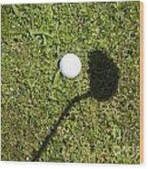 Golf Ball And Shadow Wood Print