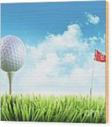 Golf Ball With Tee In The Grass  Wood Print