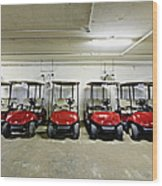 Golf Cart Parking Garage Wood Print