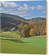 Golf Course In Autumn Wood Print