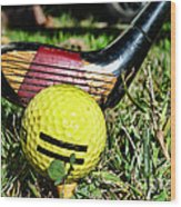 Golf - Tee Time With A 3 Iron Wood Print