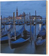 Gondolas At Dusk In Venice Wood Print