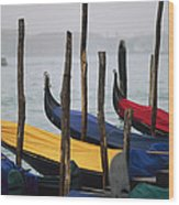 Gondolas At Harbor On A Misty Day Wood Print