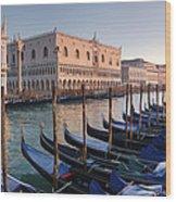 Gondolas Docked Outside Of Piazza San Wood Print