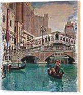 Gondolas On The Canal - Impressions Wood Print