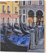 Gondolas On The Canal Wood Print