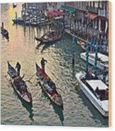 Gondolieri At Grand Canal. Venice. Italy Wood Print