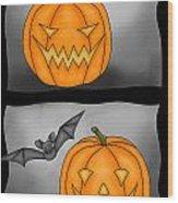 Good Pumpkin - Bad Pumpkin Wood Print