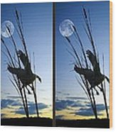 Goose At Dusk - Cross Your Eyes And Focus On The Middle Image Wood Print
