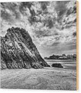 Goscar Rock Tenby 2 Mono Wood Print