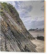 Goscar Rock Tenby 3 Wood Print