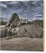 Goscar Rock Tenby 4 Wood Print