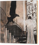 Gothic Surreal Grim Reaper With Large Eagle Wood Print