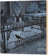 Gothic Surreal Night Gargoyle And Ravens - Moonlit Cemetery With Gargoyles Ravens Wood Print