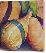 Gourds In The Fall Wood Print