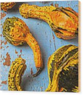 Gourds On Wooden Blue Board Wood Print