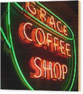 Grace Coffee Shop Neon Wood Print