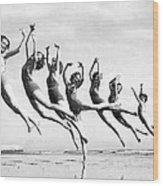 Graceful Line Of Beach Dancers Wood Print