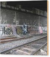 Graffiti - Under Over Railyard Wood Print