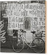 Graffiti And Bicycle Wood Print
